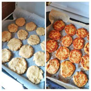 recept na piknik, cuketové placky před a po upečení